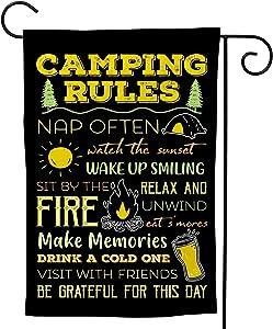 Camping Rules Home Garden Decorative, Garden Flag