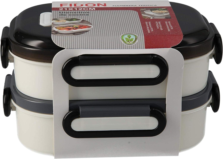 FIDON Fiambrera Térmica de silicona con interior metálico de uno, dos y tres pisos apilables. Apto para microondas y frigorífico. (3 piezas)