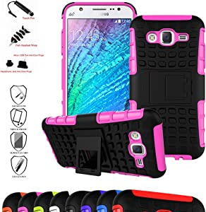 Galaxy J5 2015 Case,Mama Mouth Shockproof Heavy Duty Combo Hybrid Rugged Dual Layer Grip Cover with Kickstand for Samsung Galaxy J5 J500 2015(with 4 in 1 Packaged),Pink