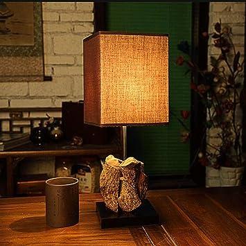 BMKY lámpara de mesa Teng raíz natural de la lámpara de la ...