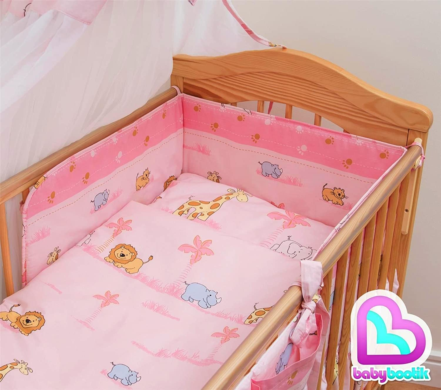 5 Piece Baby Children Bedding Set to Fit 120x60 or 140x70 cm Toddler Cot Bed to fit 120 x 60 cm Cot, 5