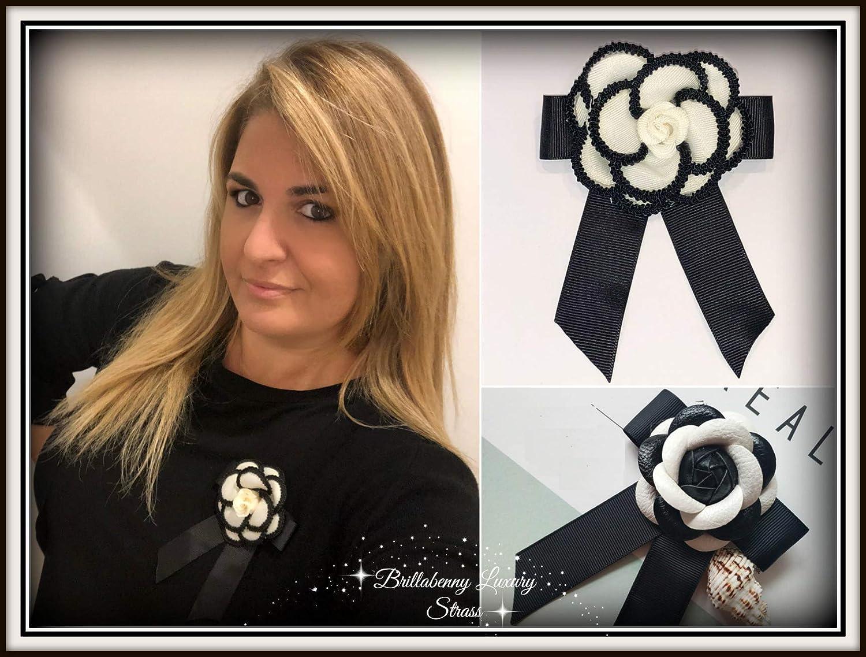 BrillaBenny Spilla Fiore Camelia in Tessuto Luxury Bianca e Nera Pin Brooch Black /& White Women Vintage Jewels