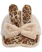 EUBUY Women Lady Cute leopard Print Bowknot Babbit Ears Winter Baseball Cap Hat