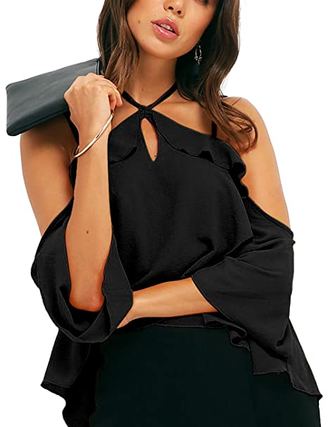 c312ec8bd37 ALLY-MAGIC Off Shoulder Halter Neck Chiffon Tops Shirt, Womens Double  Straps Short Sleeves Blouse at Amazon Women's Clothing store: