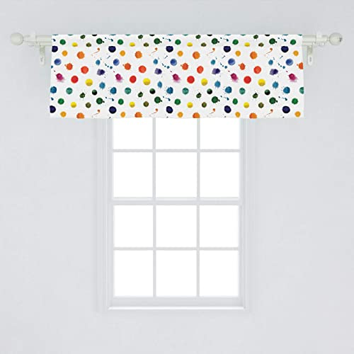 Lunarable Paint Window Valance, Circle Color Splashes Forming Colorful Polka Dots Modern Abstract Kids Baby Playroom, Curtain Valance for Kitchen Bedroom Decor with Rod Pocket, 54 X 18 , White Orange