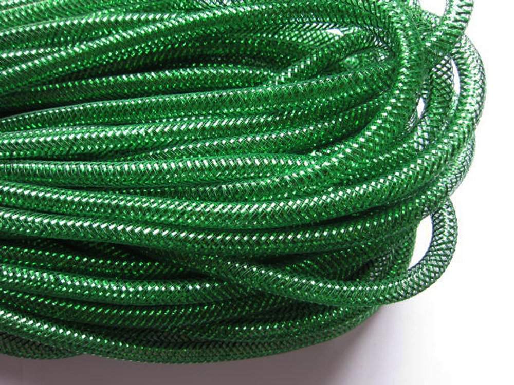 YYCRAFT One Roll 30 Yards Solid Mesh Tube Deco Flex for Wreaths Cyberlox Crin Crafts 8mm 3/8-Inch (All Emerald)