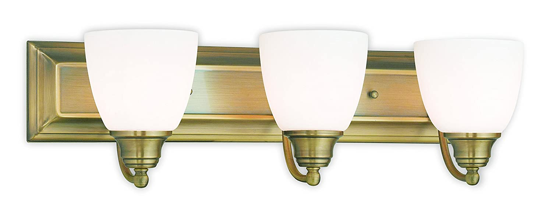 new Livex Lighting 10503-01 Antique Brass Bath Vanity with Satin Opal Glass