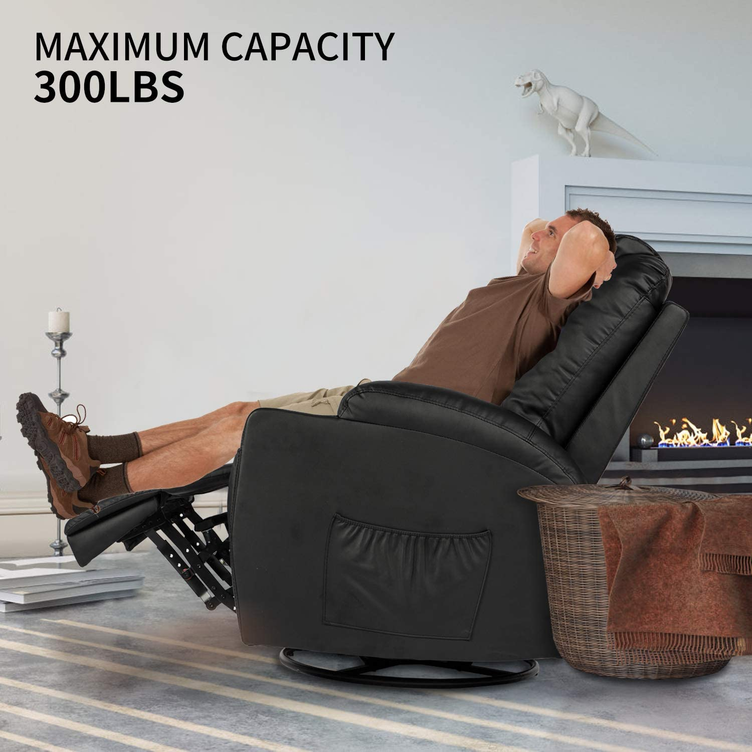Aclumsy Massage Recliner Chair 360 Degree Swivel Heated PU Leather Ergonomic Lounge with Remote Control,Black