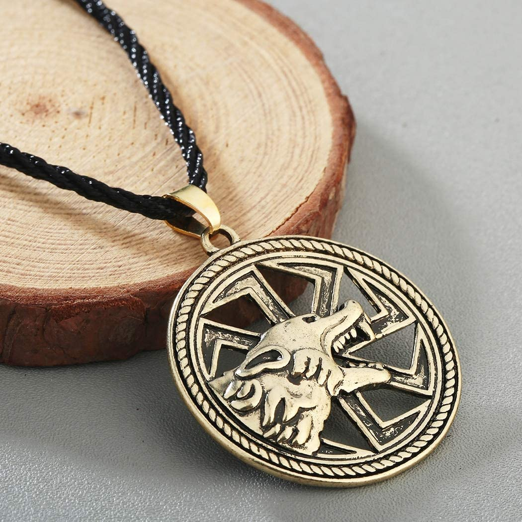 Amulet Wolf Necklaces Charm Vintage Male Hollow Animal Punk Pendants Amulets MenS Rope Choker