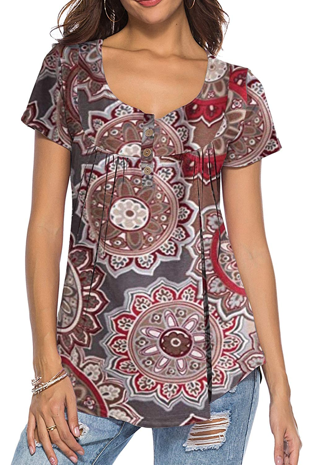0brown Flower Neitade Women's Shirts and Blouses Short Sleeve Button Up Tunic Tops