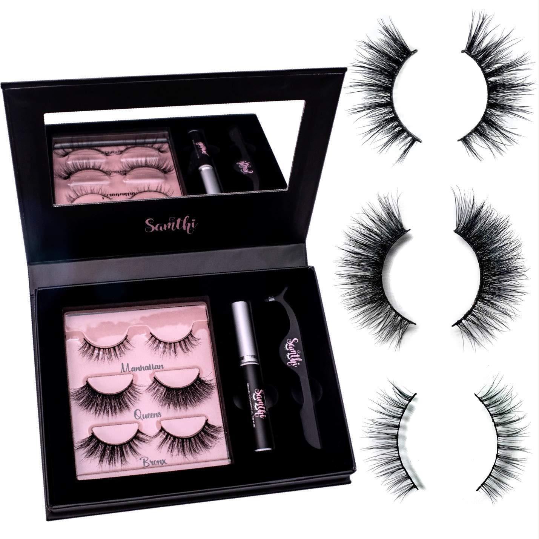 122166ae35a Amazon.com : 3D Mink Fur Lash Set: 3 Pairs Long Lasting Lashes - Glue -  Cruelty free - Tweezers & Mirror | Winged Natural & Dramatic Reusable  Eyelashes ...