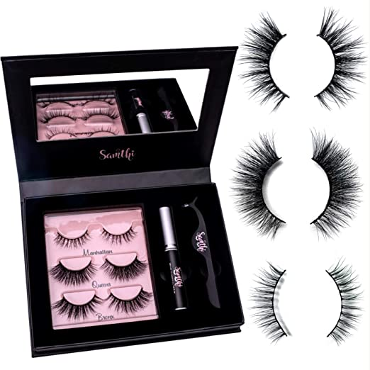 3D Mink Fur Lash Set: 3 Pairs Long Lasting Lashes - Glue - Cruelty free - Tweezers & Mirror | Winged Natural & Dramatic Reusable Eyelashes | Latex-Free Adhesive & Applicator ● Handmade Up to 20 Wears best fake eyelashes
