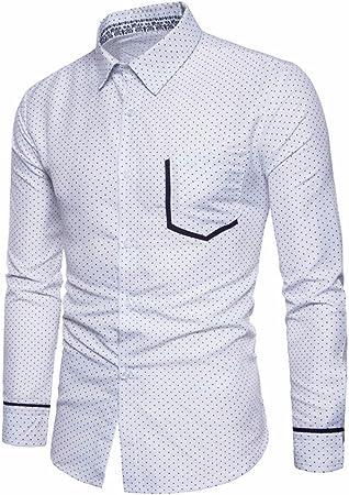 GK Hombre Camisa Moda Casual Camisa de Vestir Slim Fit ...