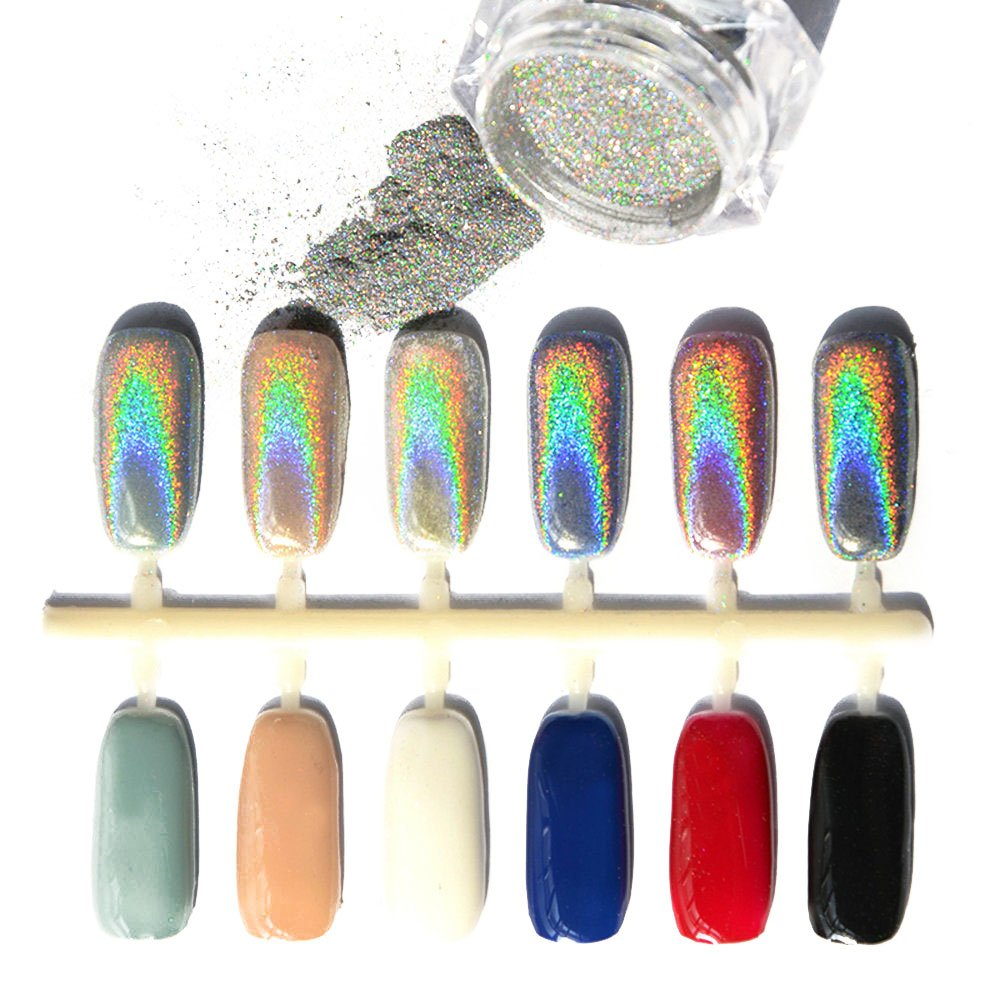 Laser Nail Powder Holographic, 1g Shining Mirror Effect Chrome Pigment Rainbow Silver Sparkly Nail Art Glitter Manicure 7 Colors for Sequins Fashion DIY pink silver pots robinlu