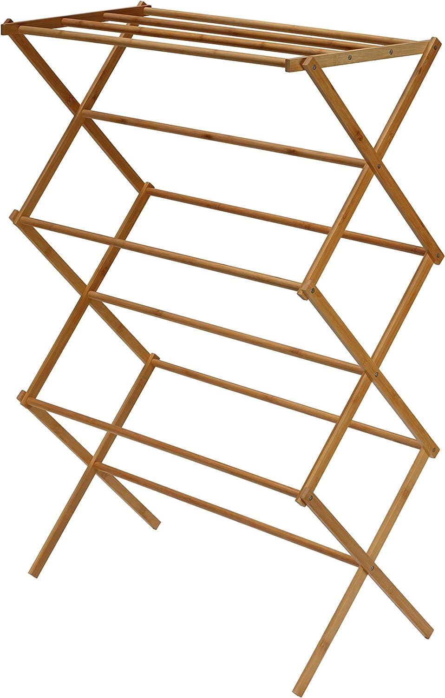 "Cortesi Home Eli Natural Bamboo Clothing Drying Rack, 28.5"" W x 14.5"" L x 43"" H"