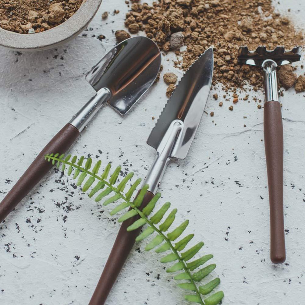 Kaffeebraun ideal f/ür Topfpflanzen rostbest/ändig Hemore 3-teiliges Edelstahl-Gartenwerkzeug-Set Spaten + Schaufel + Rechen
