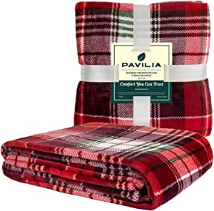 PAVILIA Christmas Throw Blanket | Holiday Christmas Red Fleece Blanket | Soft, Plush, Warm Winter Cabin Throw, 60x80 (Red Green Plaid)