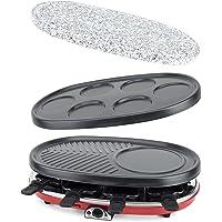H.Koenig RP418 RP418-Raclette-grill 4 en 1 para 8 Personas, 1500 W, Acero Inoxidable, Negro, Gris, Rojo
