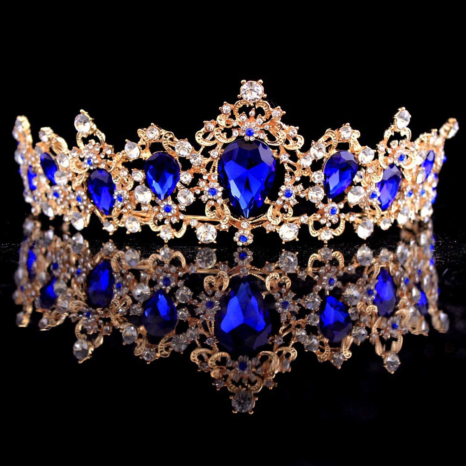 Baroque Crown Red Blue Green Crystal Bridal Tiaras Crown Vintage Gold Hair Accessories Wedding Rhinestone Diadem Pageant Crowns,Silver White