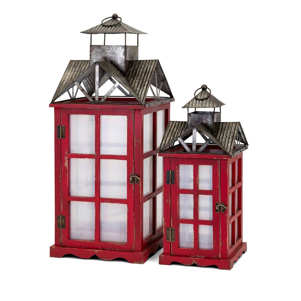 Benzara Homestead Christmas Red Barn Lanterns-Set of 2 by Benzara