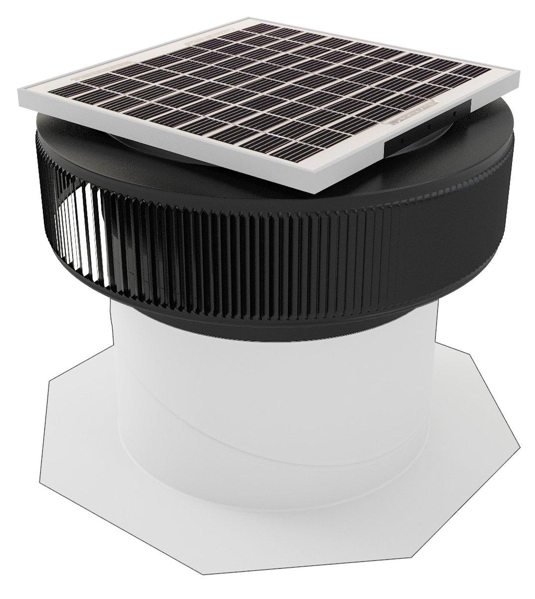 14 in. Aluminum Round 15 Watt Solar-Powered Roof Exhaust Fan in Black