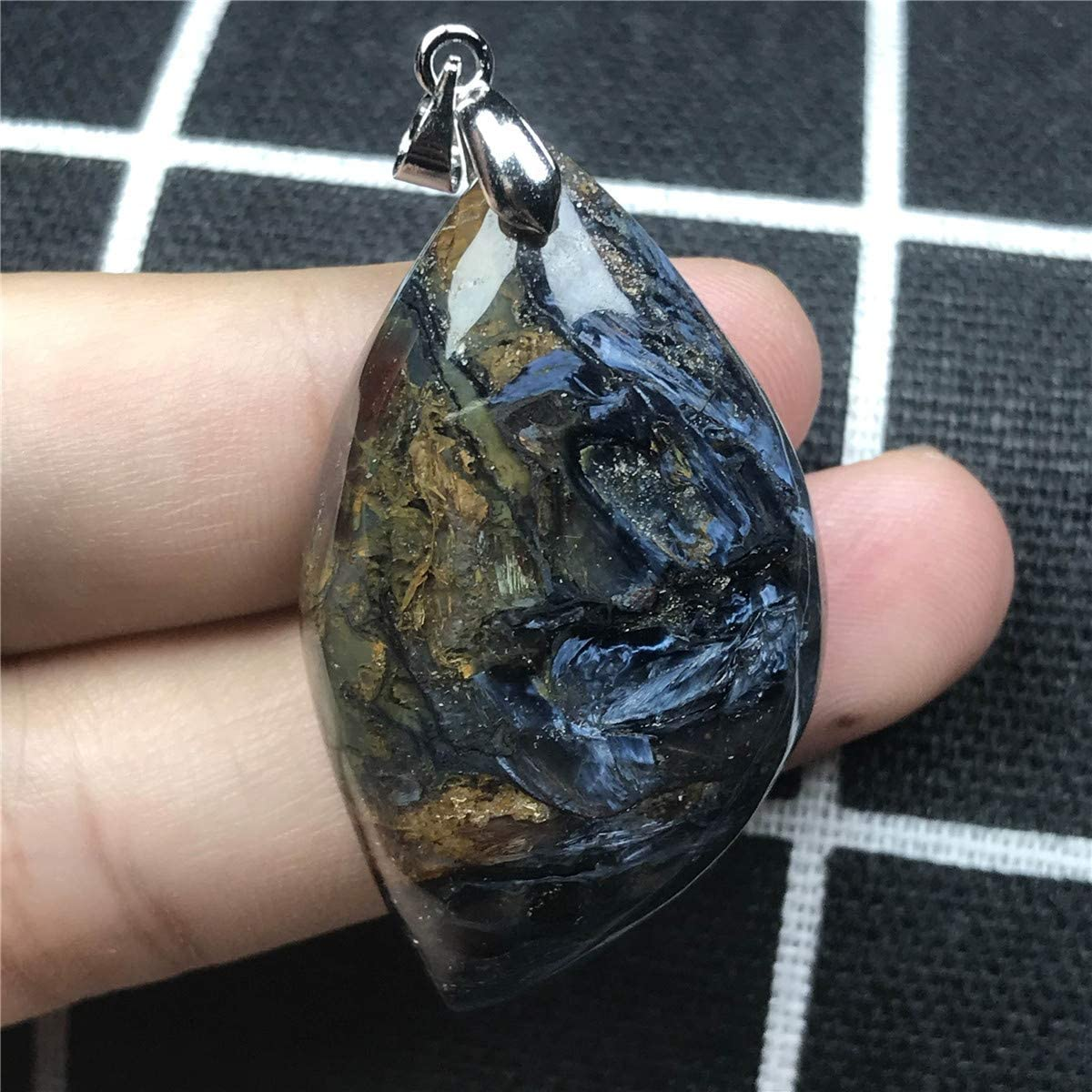 DUOVEKT Natural Blue Pietersite Pendant for Woman Man Crystal 41x24x8.5mm Stone Namibia Firework Effect Beads Pendant Jewelry AAAAA