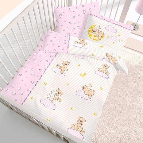 Baby-Bettwäsche Teddy rosa 100 x 135 cm Biber