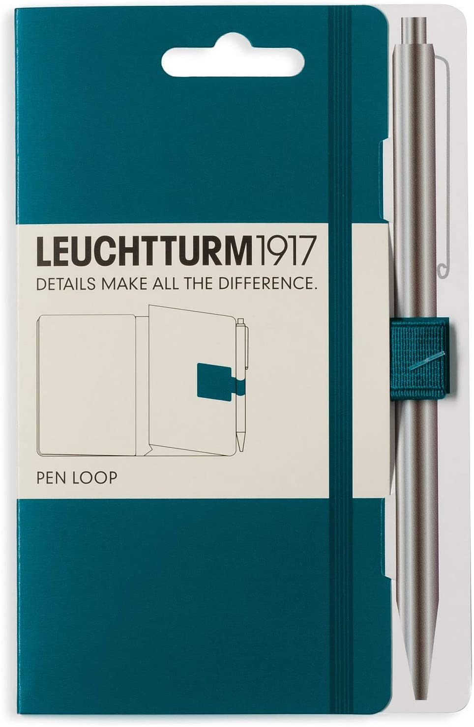 LEUCHTTURM1917 Self Adhesive Pen Loop Elastic Pen Holder - Pacific Green, Small, Model: 86606-HBJ