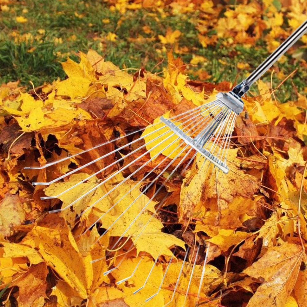 verstellbar Edelstahl-Laubbesen mit Teleskopgriff zusammenklappbar A mit komfortablem Griff f/ür schnelle Reinigung von Rasen und Hof S
