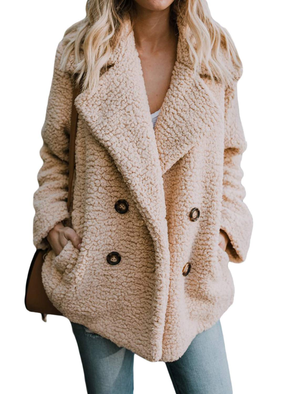 Dokotoo Womens Fashion 2019 Winter Warm Solid Oversized Sherpa Fleece Sweater Cardigans Open Front Fuzzy Loose Coats with Pockets Fluffy Outerwears Jackets Khaki Medium by Dokotoo