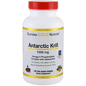 California Gold Nutrition, Antarctic Krill Oil, with Astaxanthin, RIMFROST, Natural Strawberry &