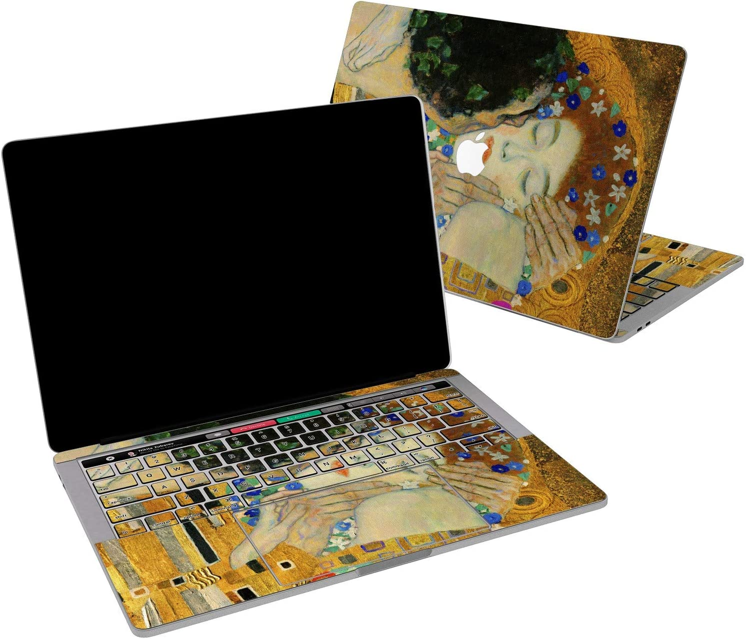 Lex Altern Vinyl Skin for MacBook Air 13 inch Mac Pro 16 15 Retina 12 11 2020 2019 2018 2017 Gustav Klimt The Kiss Art Painting Love Her Him Touch Bar Laptop Cover Keyboard Decal Sticker Wrap Top