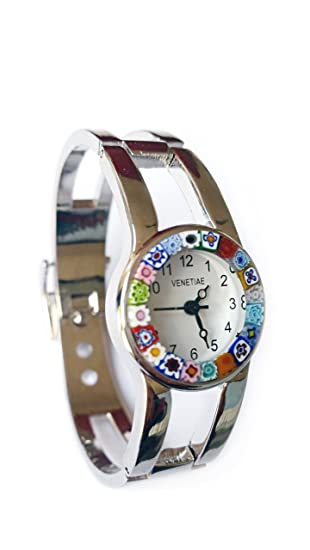 Venecia reloj 6 Casanova cristal de Murano Millefiori cuentas reloj de pulsera de cromo con cristal de Murano Certificado y original para el corte MURRINA: ...