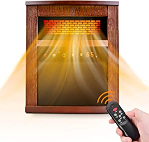 Electric Space Heater, 1500W Infrared Heater with 3 Heat Modes, Remote Control & Timer, Room Heater with Overheat & Tip-Over Shut Off Protection, Wood Cabinet Heater for Large Room, Low Noise, Brown