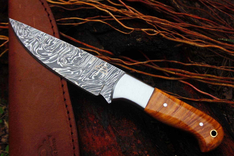 DKC Knives 20 5 18 DKC-511 Trail Blazer Fixed Blade Damascus Steel Hunting Knife Olive Wood Burl Handle 9 Long, 5.5 Blade 8oz Work of Art