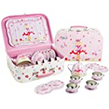 Fairy Tale Tin Tea Set & Carry Case Toy (14 Piece Kids Tea Set) Pink - Lucy Locket