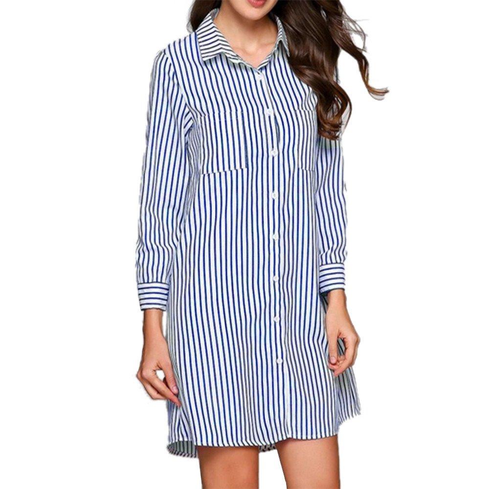 HHei_K Womens Sexy 3/4 Cropped Sleeve Turn-Down Collar Stripe Printed Pocket Button Closed Mini Shirt Dress