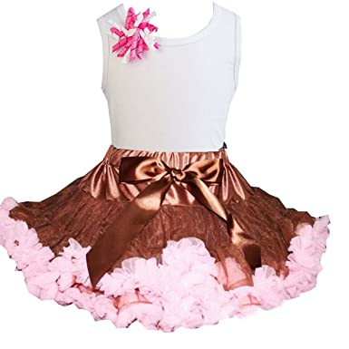 41e6846b82 Kirei Sui Brown Light Pink Pettiskirt & Tee Medium White: Amazon.co ...