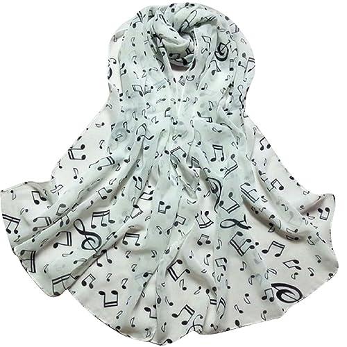 bufanda - TOOGOO(R)diseno las mujeres de la bufanda musico nota gasa panuelo de cuello chal silencia...