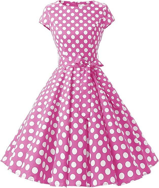 TALLA XL. Dressystar Vintage 1950s Polka Dot and Solid Color Prom Dresses Cap-Sleeve Pink White Dot B XL