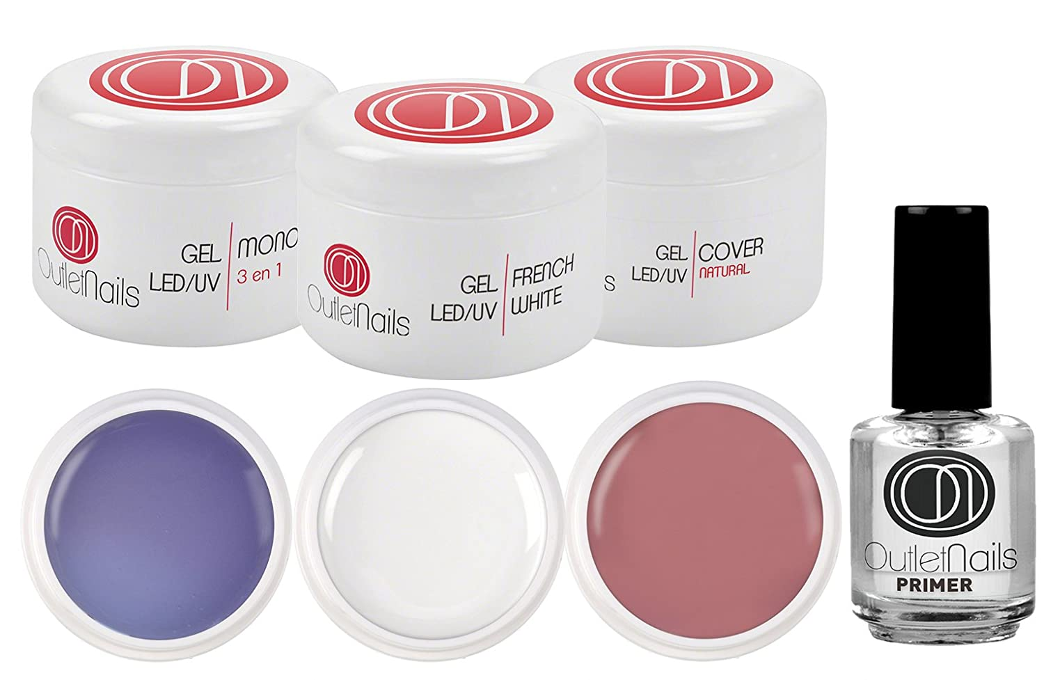 Kit de UV Gel 3 Geles de 15ml + Primer 15ml para uñas de gel / 1 x UV/LED Gel 3 en 1 Trifasico + 1 x UV/LED Ge French Blanco + 1 Gel UV/LED Cover Natural + 1 Primer 15ml Ser Beauty S.L.