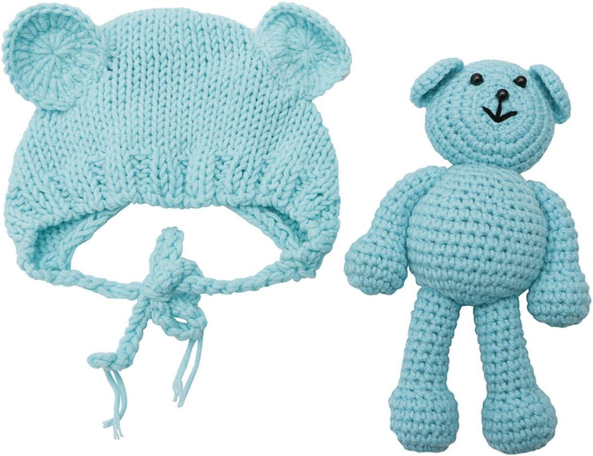 ECYC Newborn Baby Bear Hat Beanie with Bear Dolls Photography Accessories,Blue