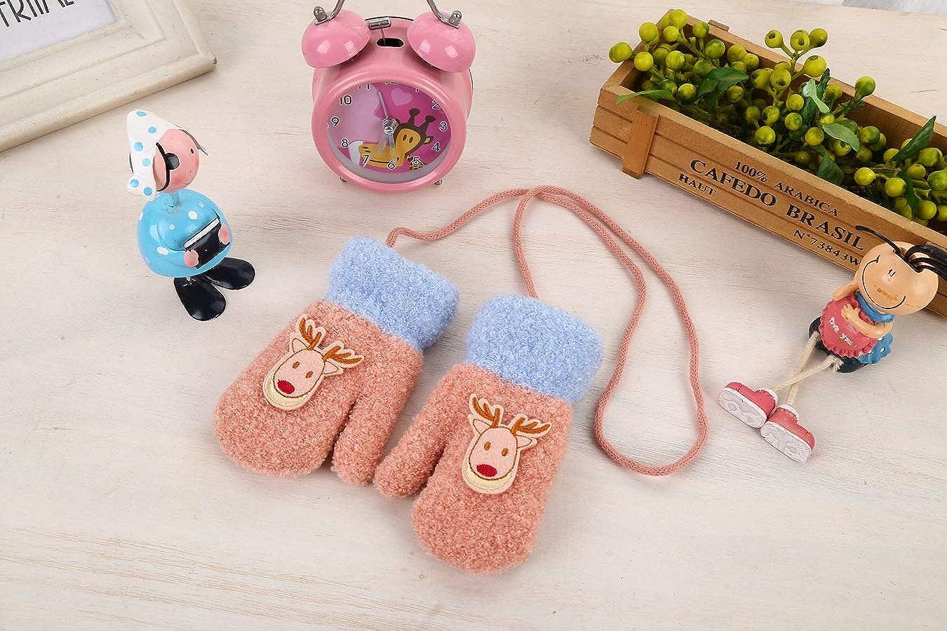 Baby Mitten Cartoon Winter Gloves Toddler Girls Boys Knitted Gloves Cute Mitten Full Finger Wrist Gloves with String Hang Neck