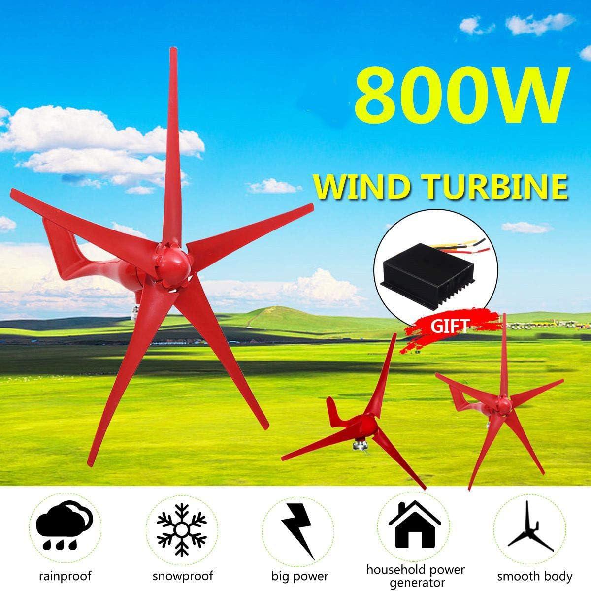 GW Las turbinas de Viento generador, 800W 5 Palas eólicas Opción generador de turbinas de 12V / 24V con el regulador del Viento para el hogar Camping Farola Accesorio de Montaje,12v: Amazon.es: