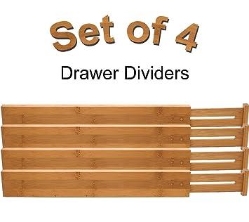 Lipper International Bamboo Kitchen Drawer Dividers,   Adjust From 22u0026quot;  ...