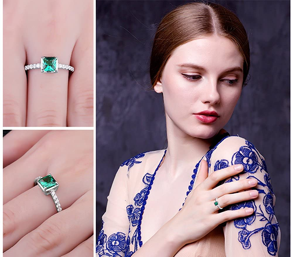 Jewelrypalace 0.55ct Luxury Gift Square Princess Green Synthetic ...