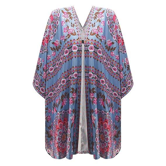 Linlink Liquidación Mujers Prendas de Abrigo con Estampado impresión Floral Playa Suelta Chal Kimono Cardigan Blusa Superior Cubierta: Amazon.es: Ropa y ...