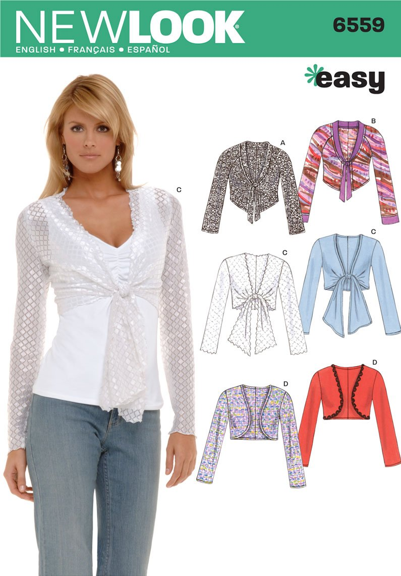 Amazon.com: New Look Sewing Pattern 6559 Misses Tops, Size A (8-10 ...