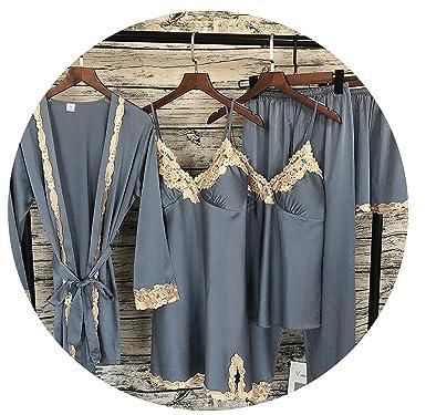0820ac445c 2018 Women Satin Sleepwear 5 Pieces Pyjamas Sexy Lace Pajamas Sleep Lounge  Pijama Silk Night Home Clothing Pajama Suit at Amazon Women's Clothing  store: