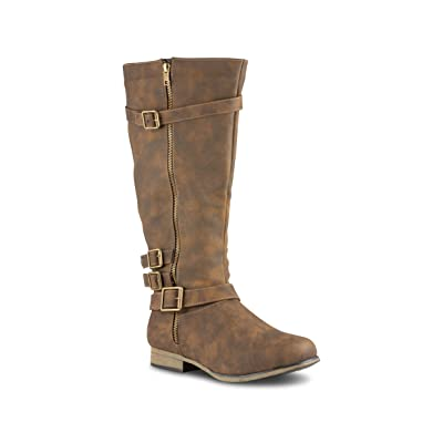 Twisted Women's Noah Wide Width/Wide Calf Knee High Faux Leather Boots with Buckle Straps | Knee-High